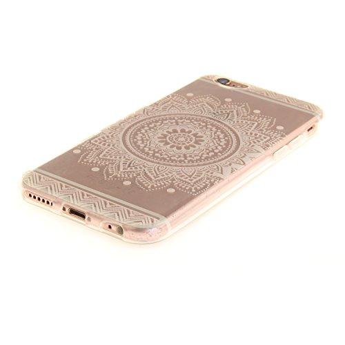 iPhone 6S Hülle,iPhone 6 Hülle,BONROY® iPhone 6 6S Silikon Hülle [Kratzfeste, Scratch-Resistant], Malerei Muster Transparent Weichem Silikon Schutzhülle Hülle Case Cover Etui Ultra Slim Skin TPU Bumpe Weiß Mandala