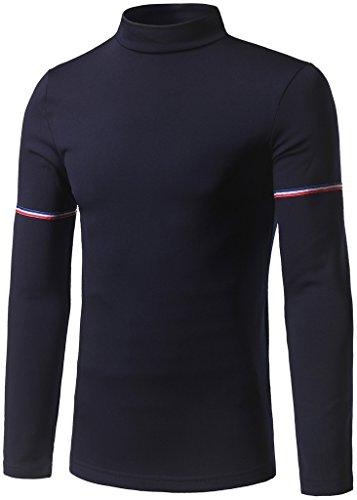 Whatlees Herren Urban Basic Slim Fit elastisch langärmliges Tshirts mit stehkragen B381-Navy