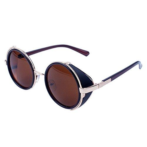 WooCo Reise Sonnenbrillen für Herren Damen, Runde Mode Vintage Retro Brille, Förderung Unisex Aviator Spiegel Objektiv Sonnenbrille(I,One size)