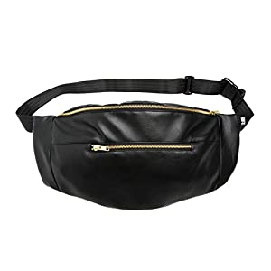 Bauchtasche large schwarzem Kunstleder, Hip bag, shoulder bag, fanny pack, Hüfttasche, belt bag, sac banane, cross bag