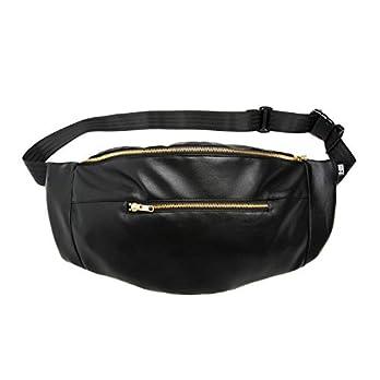 Bauchtasche large schwarzem Kunstleder, Hip bag, shoulder bag, fanny pack, Hüfttasche, belt bag, sac banane, cross bag