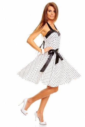 Neckholder Rockabilly Kleid 50er Jahre mit Pünktchen, Weiß