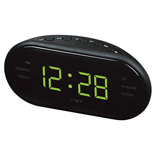 Multifunktions-LED-Anzeige Digitaler Wecker 24 Stunden Elektronische Snooze Desktop Desk Timer Radiowecker Snooze Clocks (Color : Green) -