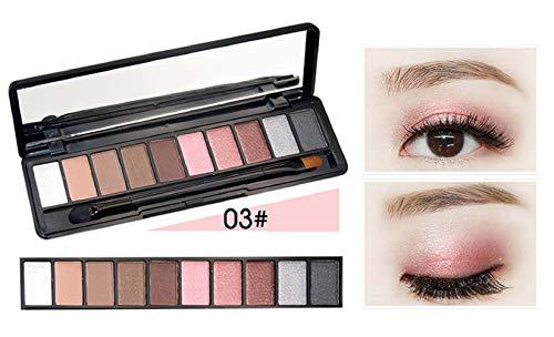 RichDeer 10 Couleurs Glitter Fard À Paupières Palette Shimmer Ultra Pigmenté Maquillage Ombre À Paupières Poudre Longue Durée Imperméable À l'eau