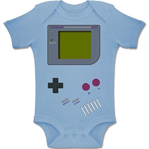 Shirtracer Strampler Motive - Gameboy - 12-18 Monate - Babyblau - BZ10 - Baby Body Kurzarm Jungen Mädchen