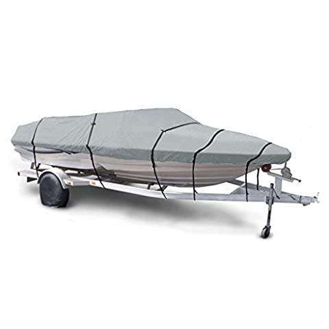 MagiDeal Heavy Duty Trailerable Waterproof 11-13/14-16/17-19/20-22FT Speedboat Fish Ski Boat Cover Storage - Various Camouflage Colors - Light Blue,