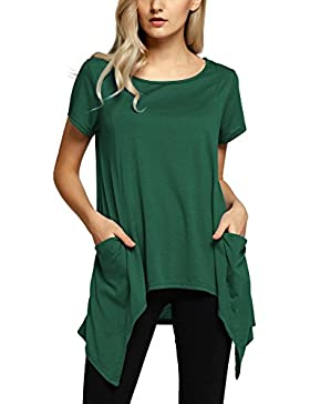 Urban GoCo Mujeres Casual Camisetas Blusa Verano Color Sólido Manga Corta T-shirt Tops