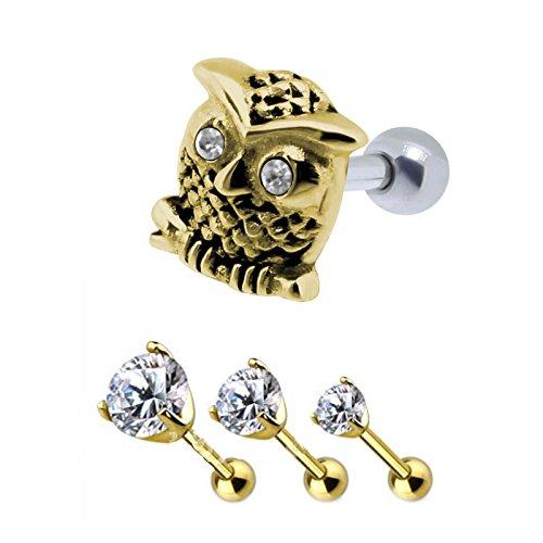 SL-Silver 4 Stück Set Helix Tragus Piercing Kristalle und Eule (Gold)