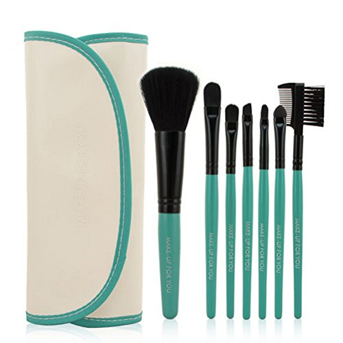PIXNOR 7 Pièce Pinceaux de Maquillage Brosse Cosmétiques + PU Cuir Étui Pochette (Blanc Noir Vert)