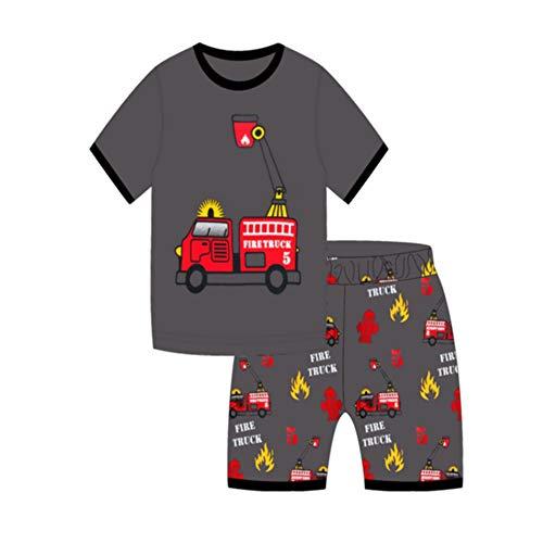 Herr Show Shirt (Showu Junge Baumwolle Kurzarm T-Shirt und Shorts Cartoon-Muster Bekleidungsset Set (Feuerwehrauto, 3-4 Jahre))