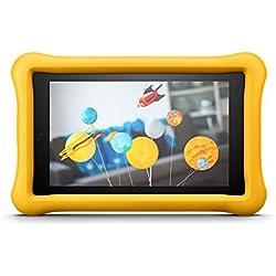Amazon - FreeTime - Coque spéciale enfants pour Fire 7 (tablette 7 pouces, 7ème génération - modèle 2017), Jaune -non compatible avec le modèle 2019 (9ème génération)