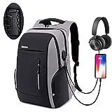 Xnuoyo Anti-Diebstahl Laptop Rucksäcke 17.3 Zoll Handtasche Herren Damen Schulrucksack mit Schloss, USB Anschluss und Headphone Port, Schultertasche mit Croßem Laptopfach und Zubehörfächer (Grau)