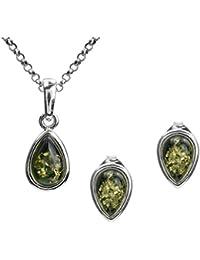 Green Amber Sterling Silver Drop Earrings Pendant Set Chain 46cm