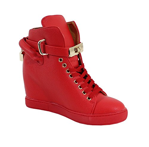 Basket Compensée Style Cuir - No Name - Ultra Tendance Rouge