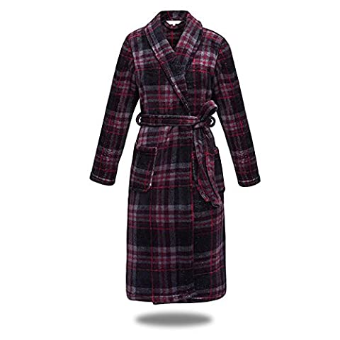 DMMSS Women 'S Classic Red Plaid Bathrobes Coral Velvet Nightgown Thickening Flannel Pajamas
