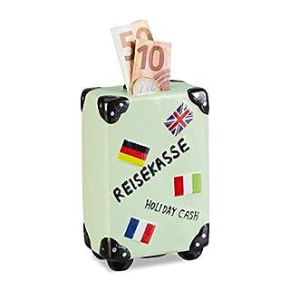 Relaxdays Spardose Urlaub, Koffer, mit Flaggen, Urlaubskasse, Reisekasse, Sparbüchse, HxBxT: 14,5 x 9,5 x 5 cm, creme