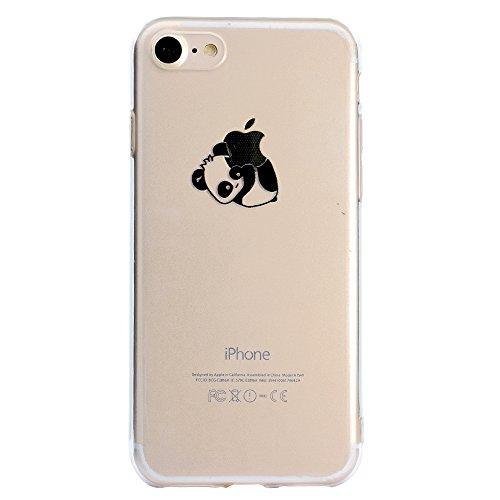 Custodia per iPhone 6S Plus,Cover per iPhone 6 Plus,Leeook Carina Creativo Divertente Interessante Panda Orso Design Invisibile Ultra Thin Sottile Flessibile Morbida Silicone Gel Gomma TPU Anti-Graffi Panda Orso#