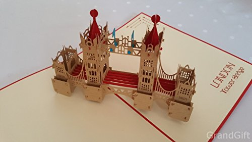 Tower Bridge rot 3D Pop up Grußkarten Jahrestag Baby Geburtstag Ostern Halloween Mutter Vater New Home NEW YEAR Thanksgiving Valentine Hochzeit Weihnachten