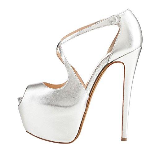 uBeauty Damen Pumps Stilettos High Heels Peep Toe Glitzer Übergröße Sandalen mit Plateau Corss Ankle Strap Schuhe Silber Pu