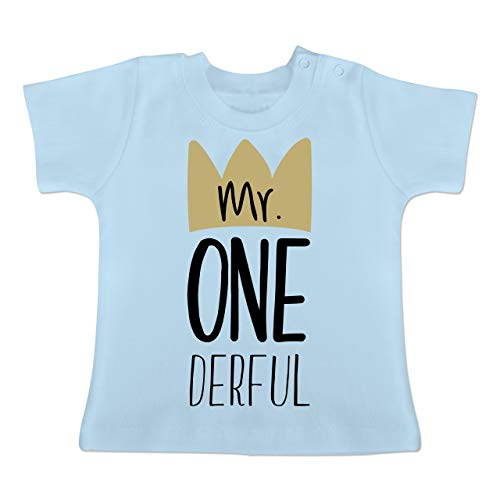 Geburtstag Baby - Mr One Derful - 12-18 Monate - Babyblau - BZ02 - Baby T-Shirt Kurzarm