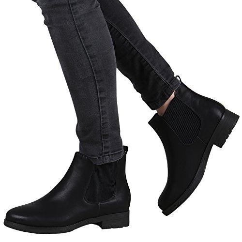 Gefütterte Damen Chelsea Boots Profil Sohle Stiefeletten Gr. 36-42 Schwarz Glatt