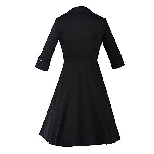Dabag - Autumne de Mode pure couleur épissure rayures Hepburn Style femme collet carré Manches longues tunique Taille Maxi Swing Robe (3XL, Rouge 1560) Noir1559