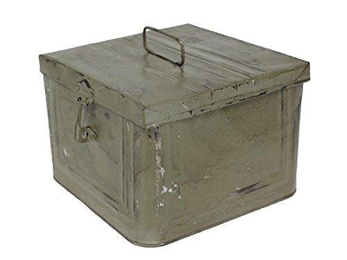 Caja Metalica Decorativa estilo Industrial Vintage color Gris, 23 x 23 x h16 cm - FRANCISCO SEGARRA