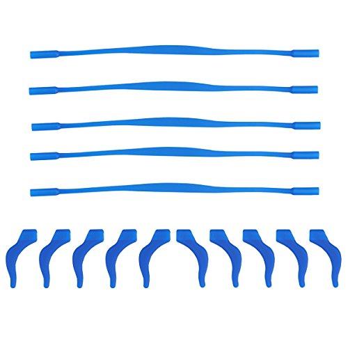 Healifty Silikon Anti-Rutsch-Brillenband und Ohr-Lock Haken Kit elastische Silikon Brillen Halter für Kinder Kinder 5 Set (dunkelblau)