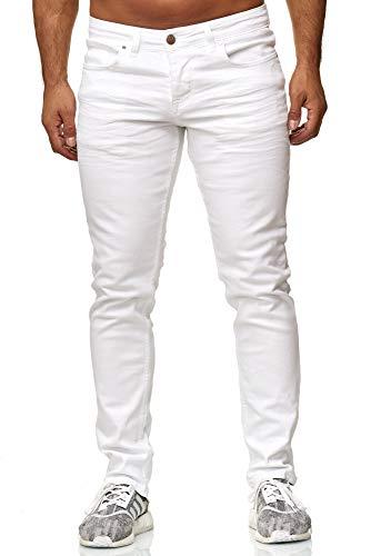Elara Herren Jeans | Slim Fit Hose Denim | Strech Style | Chunkyrayan 16533-Weiss-31W / 32L - 32 Skinny Jeans