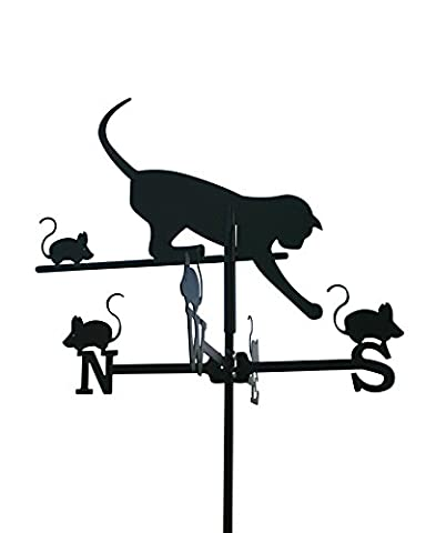We Are Shopping - Wetterfahne Katze und Maus, Windspiel, Wetter Fahne, Motiv Katze und Maus (Klein - 36 x 72 cm)