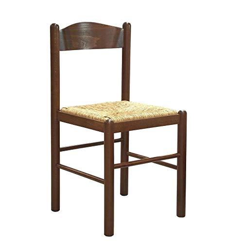 Arredinitaly set 2 sedie paola in legno massello di faggio tinto noce e seduta in vera paglia - prodotto di qualità, 100% made in italy