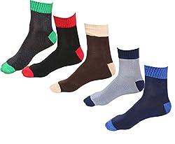 IndiWeaves Mens Cotton Socks-(Pack of 5) Black/Black/Brown/Grey/Blue
