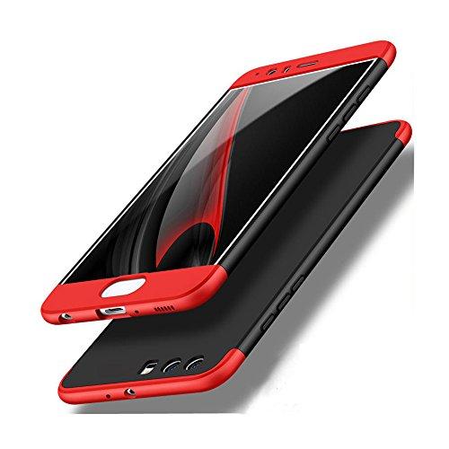 Custodia per Huawei P10 Plus, LCHULLE 360 Grado Completamente protettivo 3 in 1 PC Caso, Ultra Sottile Antiurto con Nero Indietro e Rosso Telaio rivestito Superficie Custodia