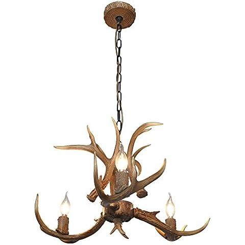 Shengdi corno di cervo 3-Light ferro industriale vintage lampadario a soffitto della lampada della lampada per Ristorante balcone Camera con paralume 1017C-3-1it (Coffee)