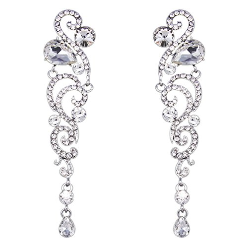 Earrings - SODIAL(R) one pair of Angel Wings Rhinestone Crystal Long Earrings Black