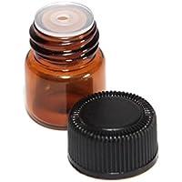 Aeromdale - Vial de cristal ámbar con reductor de olores y tapa de plástico negro (12 unidades)