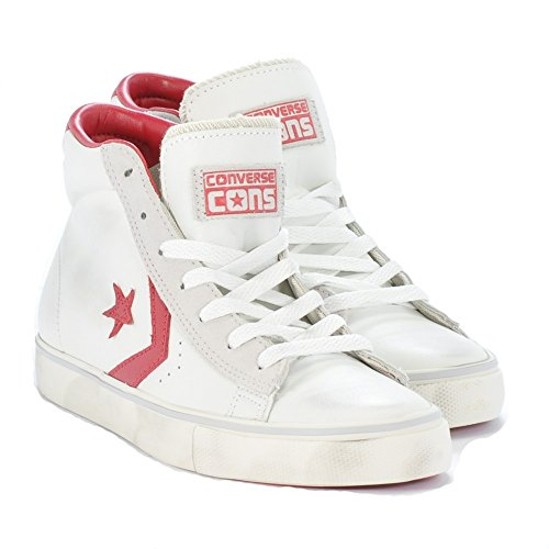 CONVERSE ALL STAR CT PRO LEATHER MID BIANCO-ROSSO VNTG 155098C - 44, BIANCO