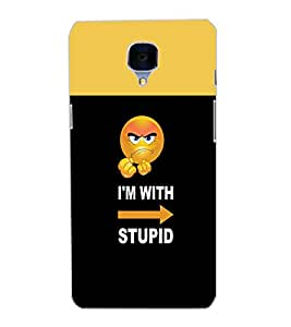 ONE PLUS THREE IAM WITH STUPID Back Cover by PRINTSWAG