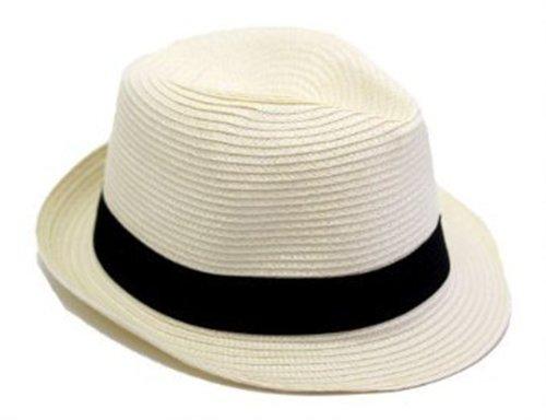 Cappello di estate Evento Party Panama con fascia cappello nero - Unisex - Crema