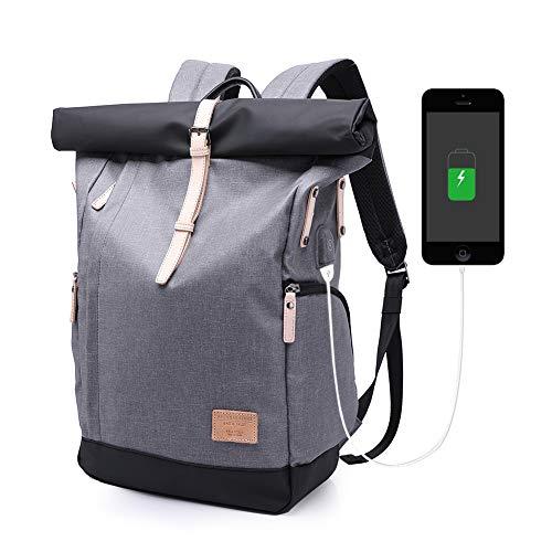 Roll-top zaino antifurto affari di viaggio della scuola della borsa di modo del computer portatile a 15,6 pollici casuali per gli studenti delle donne-grigio