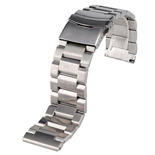 Casio Ersatz Uhrenarmband Für (20mm Herren Silber Edelstahl massiv Band Ersatz Uhrenarmband Klappschließe mit Sicherheit 2.0cm Breite)