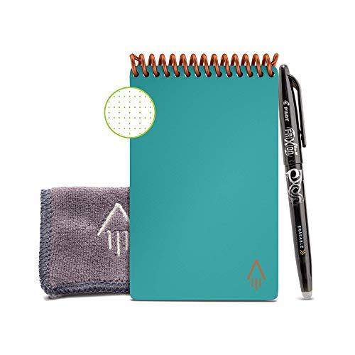 """Rocketbook Unbegrenzt Wiederverwendbares Taschennotizbuch - Everlast Smart A6 \""""Mini\"""" - Blaugrün, Kariert, Inklusive Pilot FriXion Stift und Mikrofasertuch"""