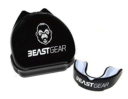 Beast Gear Mundschutz / Zahnschutz - Für Boxen, MMA, Rugby, Kickboxen, Judo, Karate, Hockey & Kampfsport. Sportmundschutz mit Praktischer Aufbewahrungsbox. Schützt Zähne, Zahnfleisch & Kiefer.