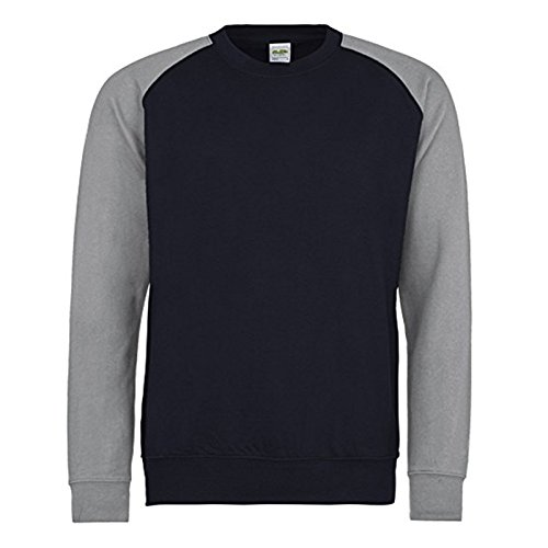 AWDis Herren Modern Sweatshirt Gr. S, Oxford Navy/ Heather Grey (Heather Navy Blue Raglan-t-shirt)