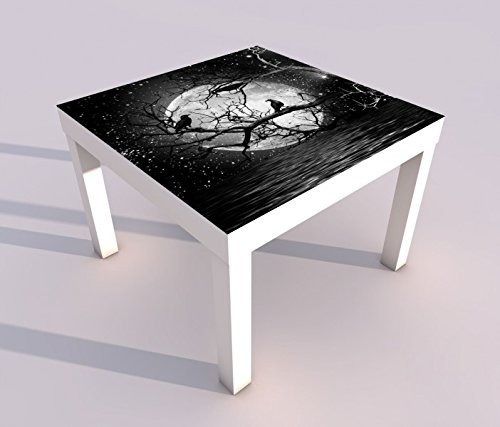 Design - Tisch mit UV Druck 55x55cm schwarz weiß Vollmond Raben Baum Halloween Spieltisch Lack Tische Bild Bilder Kinderzimmer Möbel 18A865, Tisch 1:55x55cm (Schwarze Halloween-bäume)