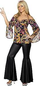 Smiffys-30442S Miffy Disfraz de Hippy, Chica, con Top Estampado y Pantalones de Campana, Color Negro, S - EU Tamaño 36-38 (30442S