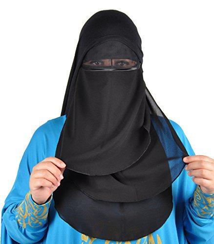 Niqab dreilagig - Hijab Gesichtsschleier Burka Khimar Islamische Gebetskleidung ,schwarz