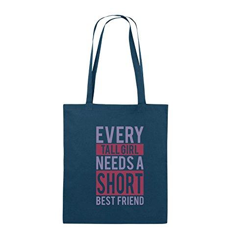 Comedy Bags - Every tall girl needs a short best friend - Jutebeutel - lange Henkel - 38x42cm - Farbe: Schwarz / Weiss-Neongrün Navy / Violet-Fuchsia