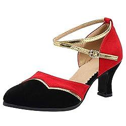 serliyDamen Tanzschuhe Frauen Rumba Waltz Prom Ballsaal Latin Salsa Tanzschuhe Square Dance Schuhe Erwachsene Lateinische Tanzschuhe des Fischmunds High School und Soft Bottom Schuhe