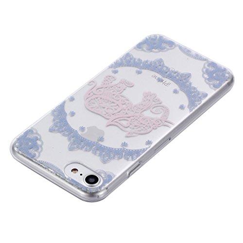 Cover iPhone 8 Morbido, Ronger Custodia iPhone 7 Trasparente Stile TPU [Nuovo Modello] [Cristalli Liquidi] Cover del Telefono Mobile Ultra Sottile Slim Paraurti Silicone Resistente ai Graffi Antiurto  Elefante